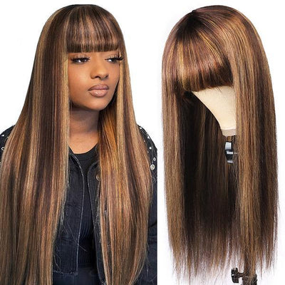 P Color 4/27 Ombre Brazilian Human Hair Wigs With Bangs No Lace Wigs Machine Made Straight Hair Wigs With Bangs