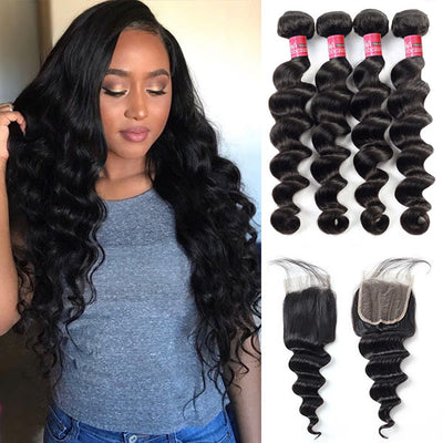 Brazilian Loose Deep Wave With 4*4 Lace Closure 100% Unprocessed Human Hair Extension