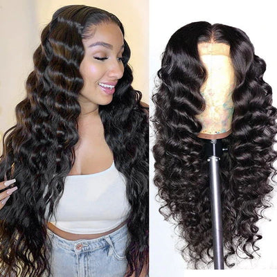 loose deep virgin human hair wig