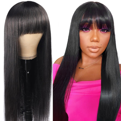 Machine Made Virgin Hair Wig Silky Straight Glueless Wig With BangsNew Arrival Machine Made Wig Virgin Straight Glueless Human Hair Wig With Neat Bangs