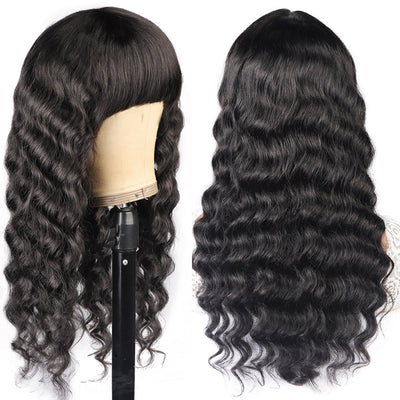 Machine Made Virgin Human Hair Wig Loose Deep Wave Glueless Wig With Bangs