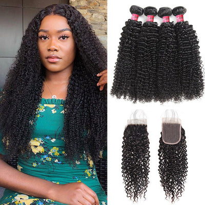 Mongolian Jerry Curly 4 Bundles With Lace Closure Virgin Human Hair Bundles Pack