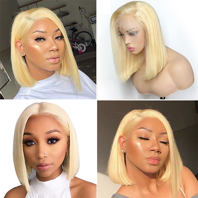 100% Virgin Human Hair Wigs,Blonde Bob Short Straight Lace Front Wig
