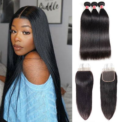 Indian Hair Straight Hair With 4*4 Lace Closure 100% Unprocessed Human Hair