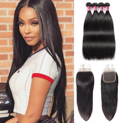 Brazilian Silky Straight Hair With 4*4 Lace Closure 100% Unprocessed Human Hair Extension