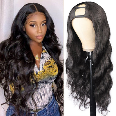 High Quality U Part Human Hair Wig Natural Color Machine Made Wig Glueless Virgin Unprocess Natural Black Body Wave WigsBody Wave Wig