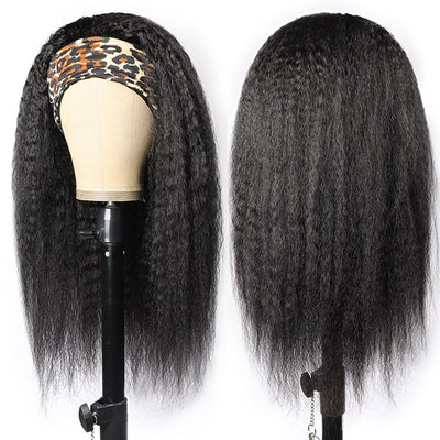 Yaki Straight Virgin Human Hair Headband Glueless Wigs For Black Women 150% Density