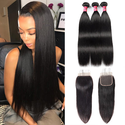 Peruvian Straight Human Hair With 4*4 Lace Closure 100% Unprocessed Human Hair Extension