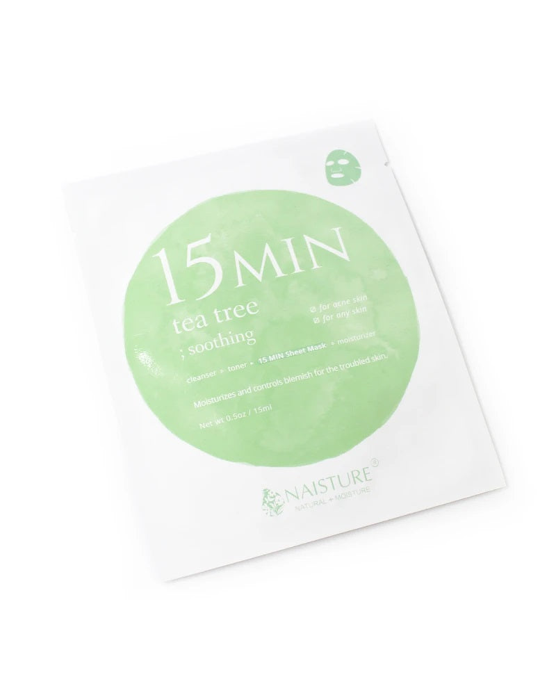 15 MIN Tea Tree Face Sheet Mask (5 Sheets)