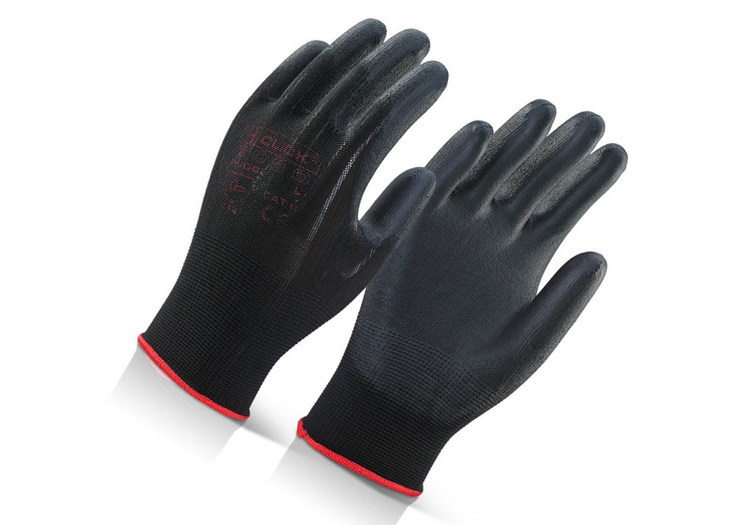 Gloves PU Coated Black Pack of 10