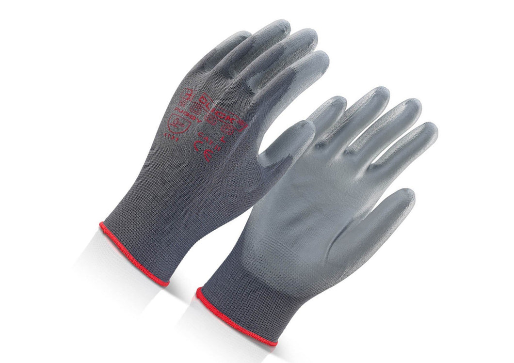 Gloves PU Coated Grey Pack of 10