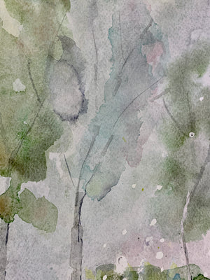 Textures of Windsor and Newton artist's watercolour, watercolor paint expressing light through the trees