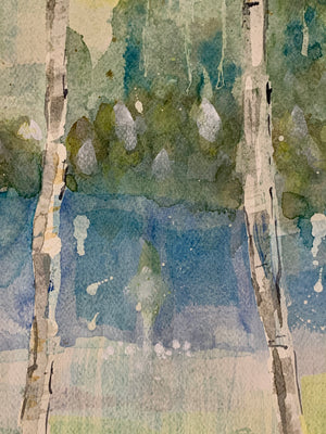 Load image into Gallery viewer, Silver birch trees painted in Schminke watercolours