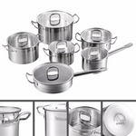 12 Piece Stainless Steel Kitchen Cooking Pot & Pan Sets