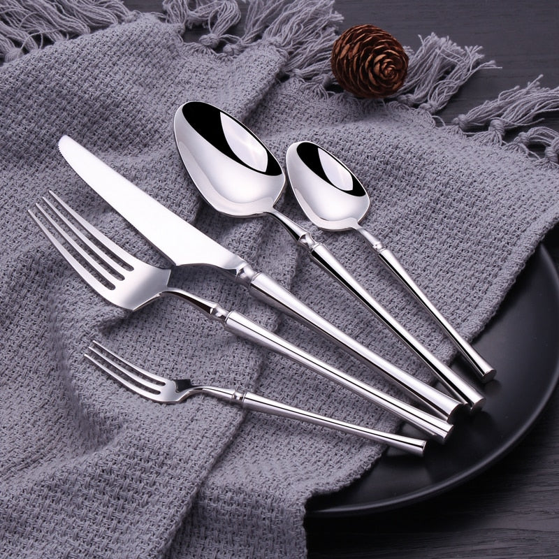 30 Piece Mirror Shine Stainless Steel Dinnerware Set