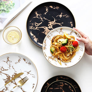 Nordic Marble Gold Inlay Dinner Dish Set