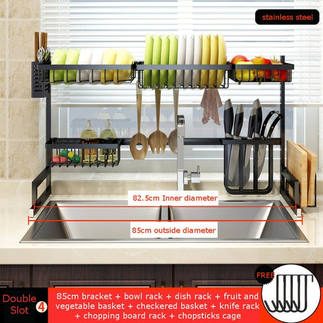 2 Layers Multi-use Stainless Steel Dishes Rack