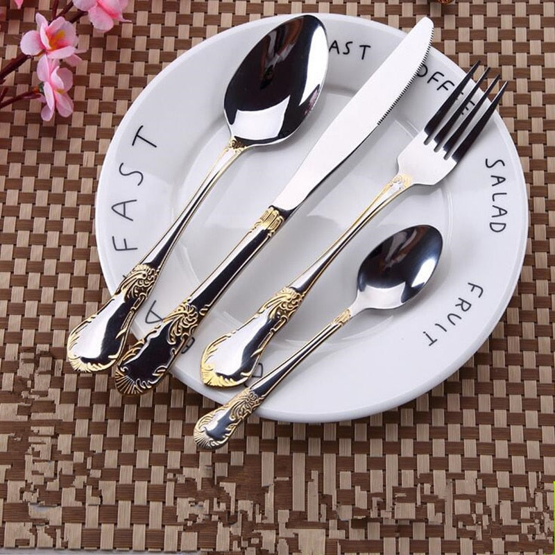 24 Piece Silver Stainless Steel Dinnerware Set