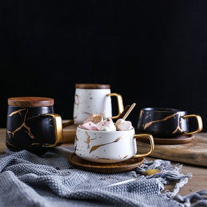 Marble Gold Inlay Coffee Mugs