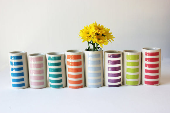 SET of 12 - Small  Cylinder Vase, Handmade Vase, Vases, Brush holder, bamboo cylinder - Yesha-Art