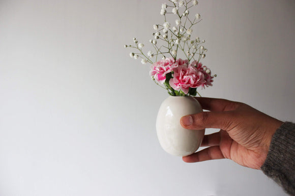 White Flower Vase, Ceramic Vase, White Bud Vase, Small Ceramic Vase, White Home Decor - Yesha-Art