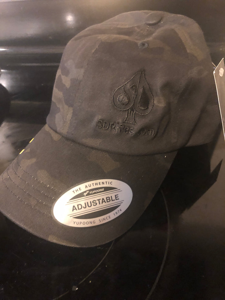 Black multi-cam hat