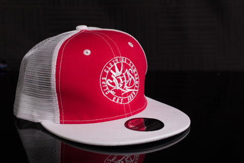 Clips Half mesh SnapBack - White/Red