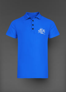 Mens Clips Polo -Blue W/White Logo