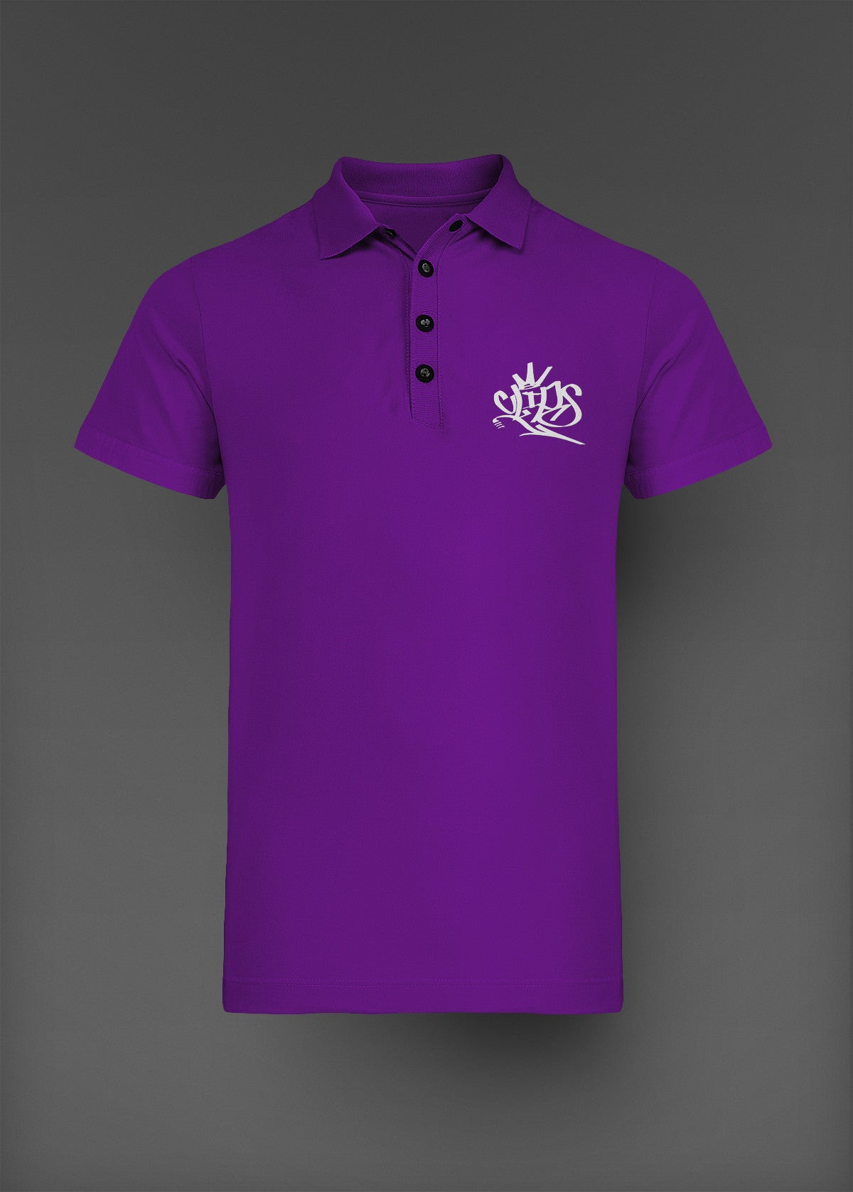 Mens Clips Polo -Purple W/White Logo