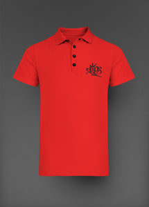 Mens Clips Polo - Red W/ Black Logo