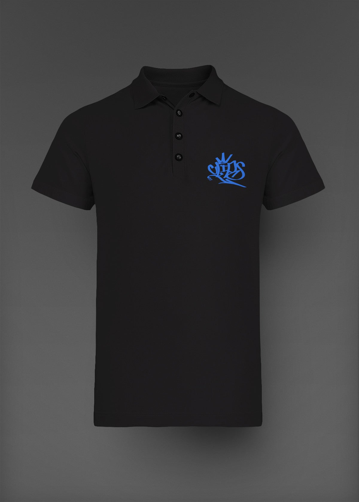 Mens Clips Polo -Black W/Blue Logo