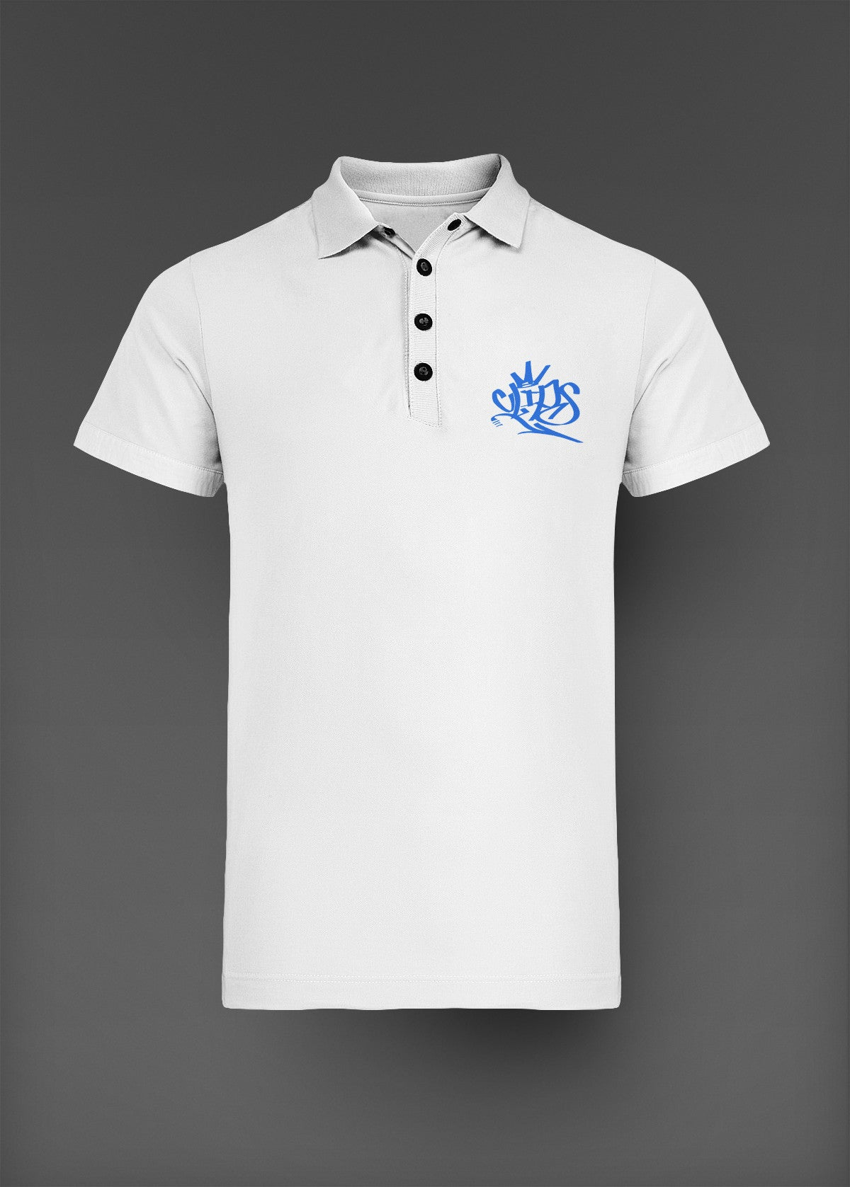 Mens Clips Polo - White W/ Blue Logo