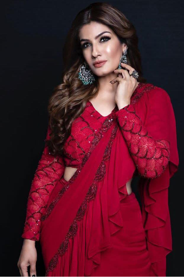RAVEENA TANDON IN OUR ROUGE EDIT RUFFLED SAREE