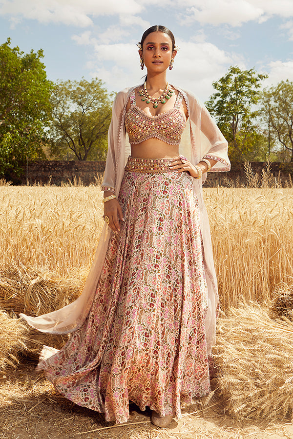 GREY PRINTED LEHENGA SET