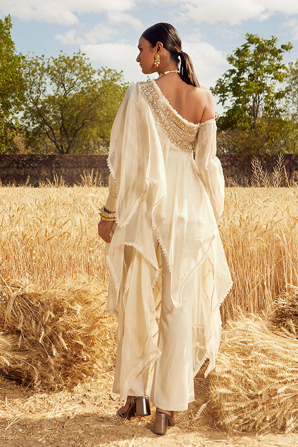 IVORY ONE SHOULDER EMBROIDERED ASYMMETRIC KURTA SET