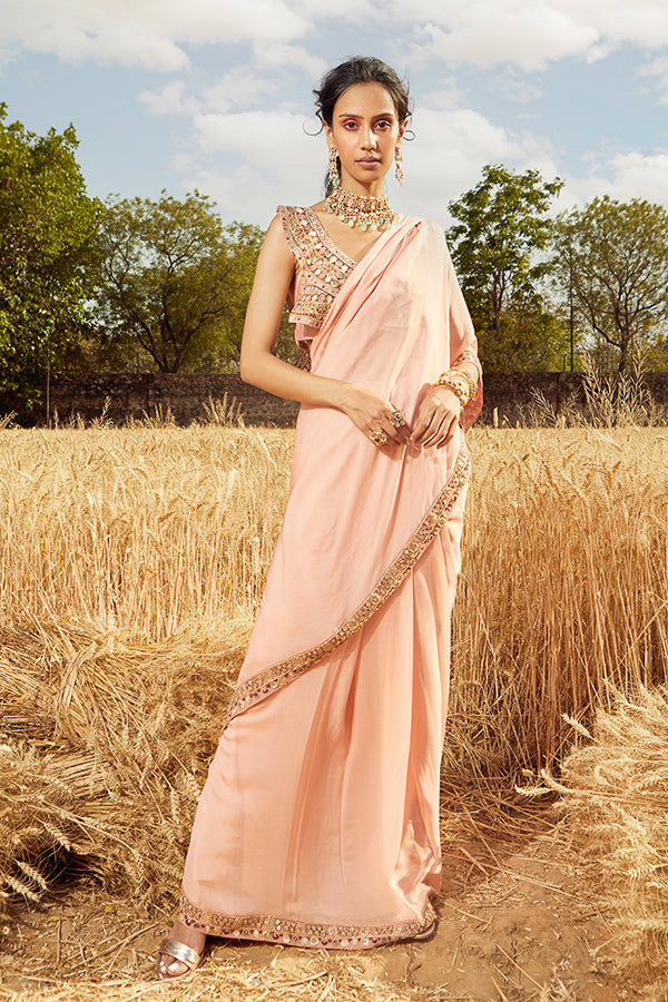 PINK EMBROIDERED PRE-DREAPED SAREE