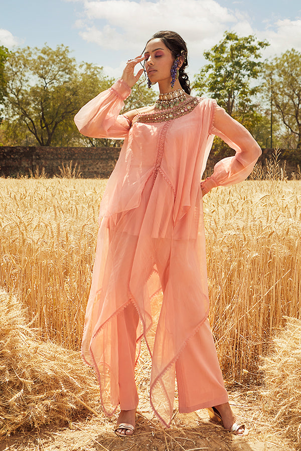 PINK ONE SHOULDER EMBROIDERED KURTA SET