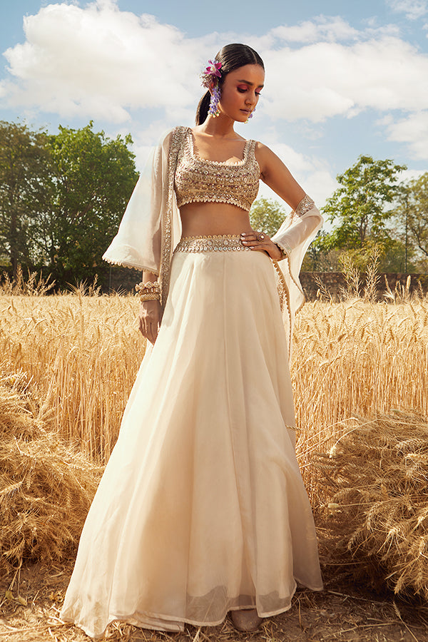 IVORY EMBROIDERED LEHENGA SET