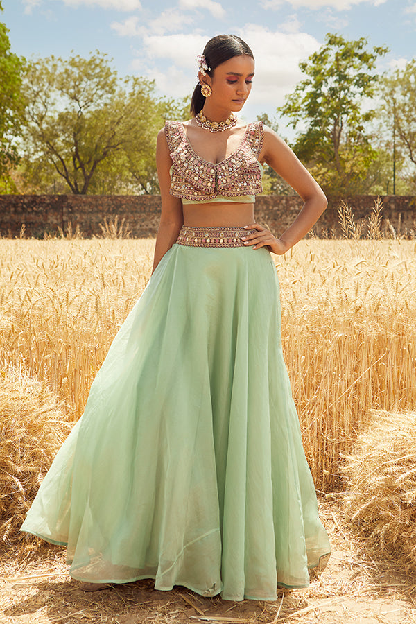 AQUA EMBROIDERED LEHENGA SET