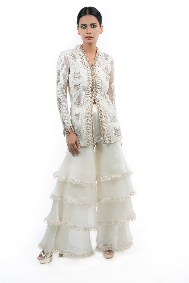IVORY PEARL EMBROIDERED JACKET WITH BUSTIER AND TOERED SHARARA