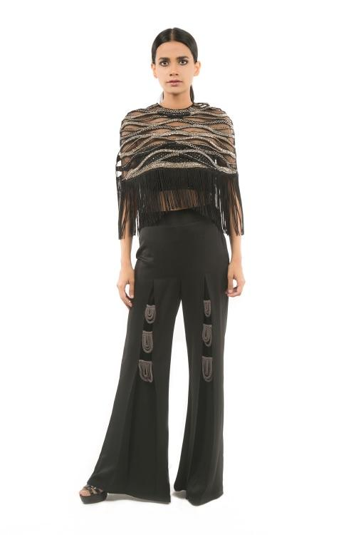 BLACK TASELLED CAPE WITH BUSTIER AND PANTS
