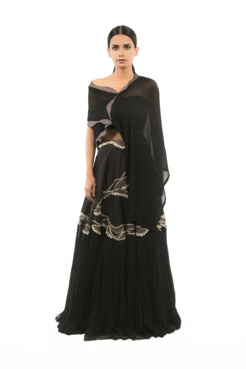 BLACK PINTUCKED CAPE WITH BUSTIER AND EMBROIDERED SKIRT