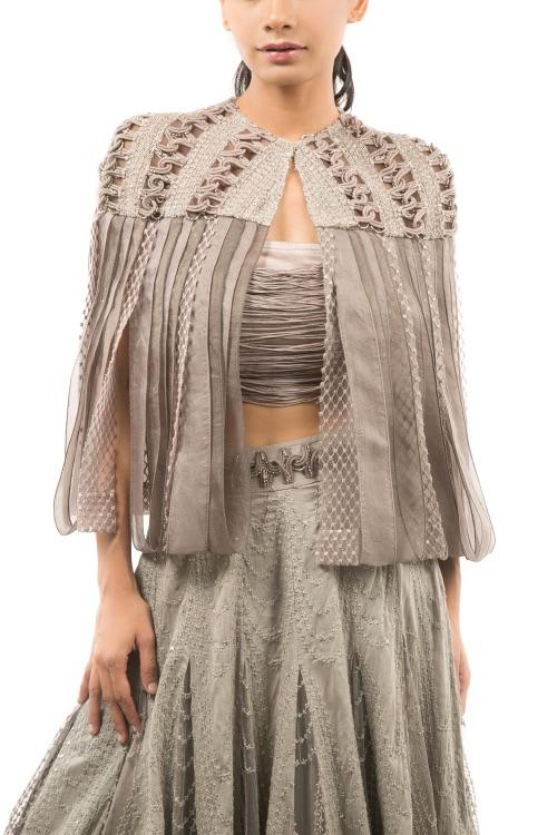 GREY OMBRE LEHENGA WITH BUSTIER AND OVERLAY