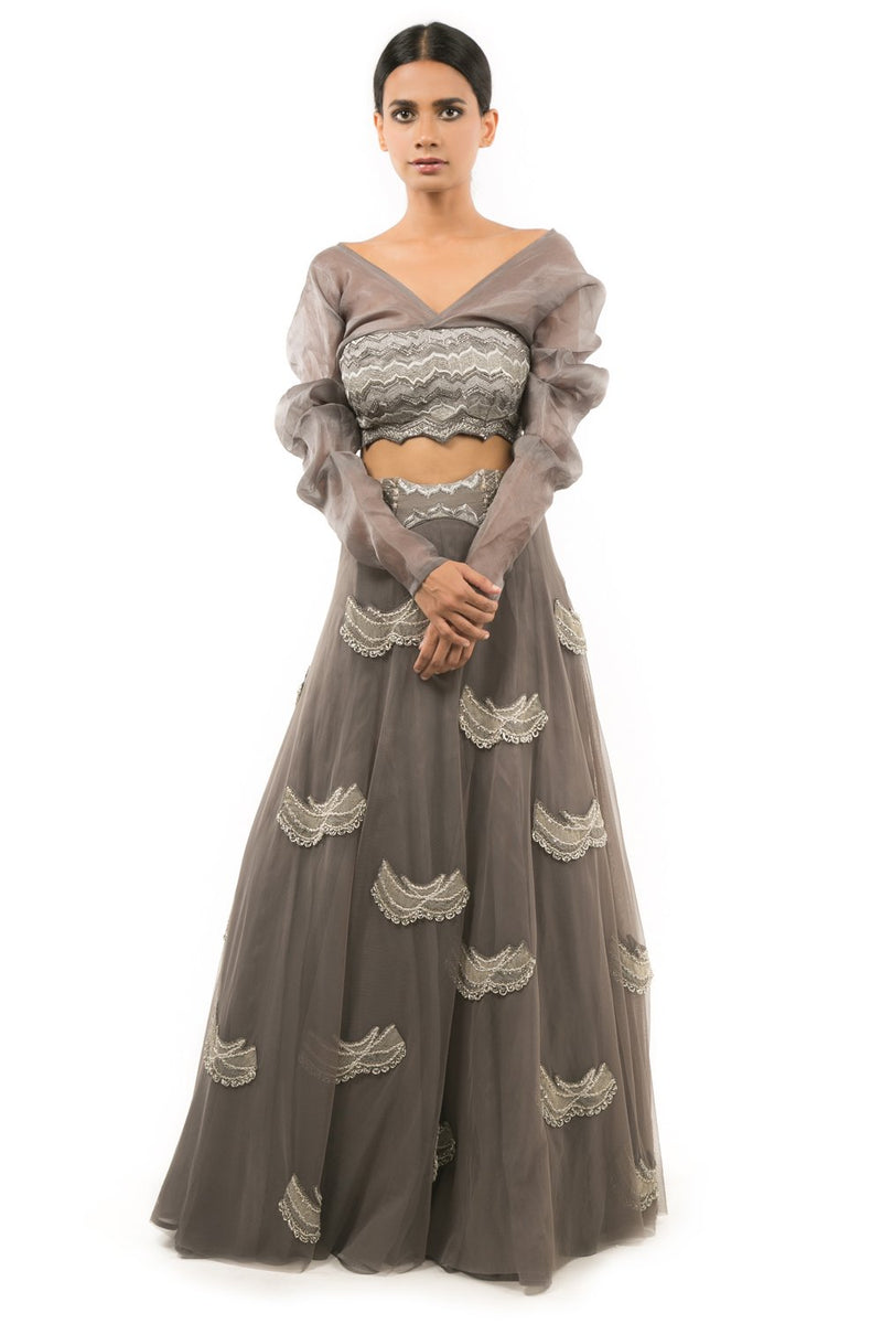 STEEL GREY CHAND BOOTA LEHENGA WITH CHEVRON EMBROIDERED BLOUSE
