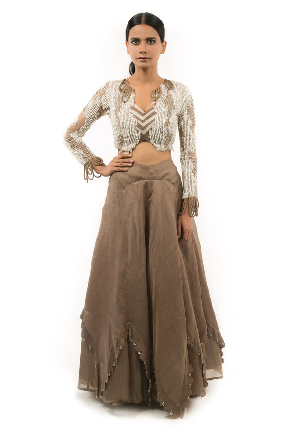 GOLD ASYMMETRIC LEHENGA WITH EMBROIDERED BLOUSE