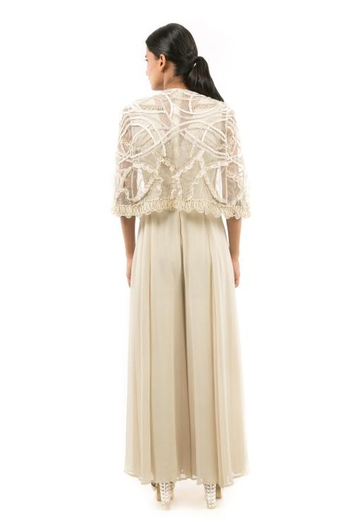 IVORY JUMPSUIT WITH CAPE