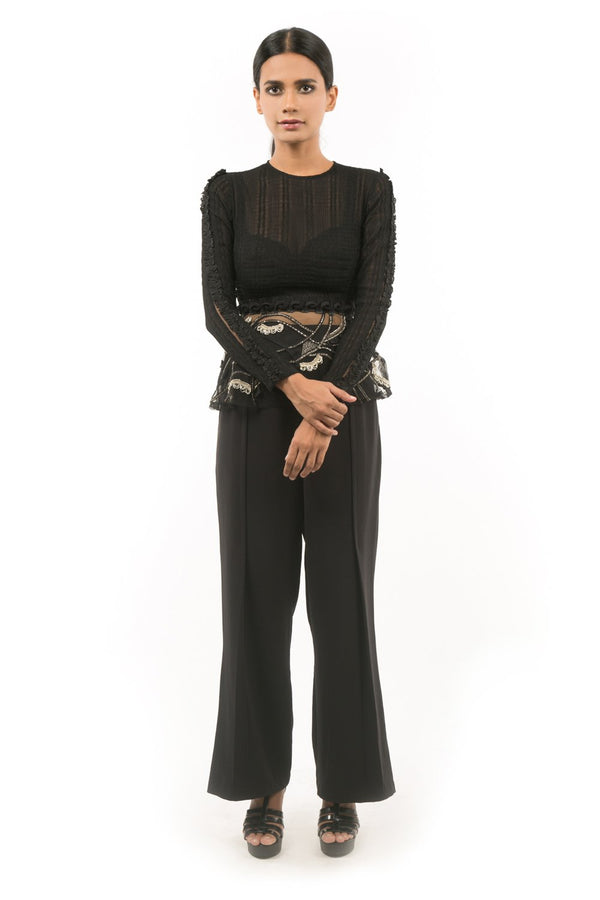 BLACK EMBROIDERED PEPLUM WITH BUSTIER AND PANTS