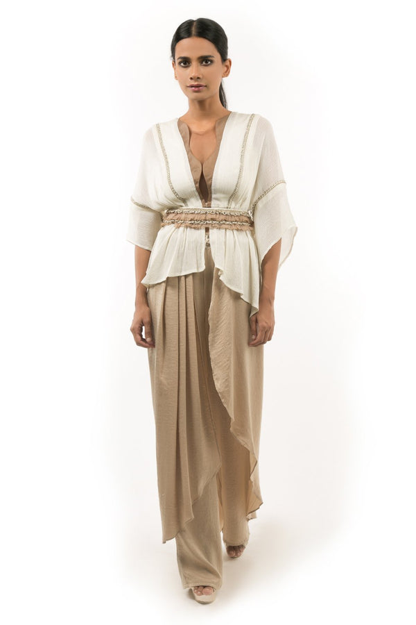 GOLD PINTUCKED KAFTAN TOP WITH OVERLAPPED DHOTI PANTS