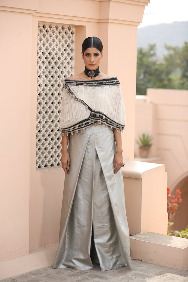 ivory-asymmetric-cape-with-steel-grey-flared-pants