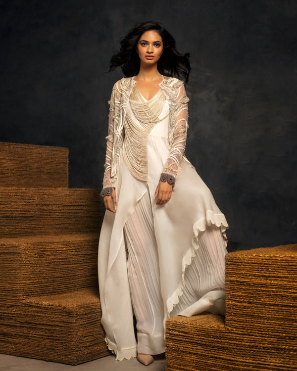 IVORY ASYMMETRIC DRESS WITH EMBROIDERED OVERLAY AND PANTS